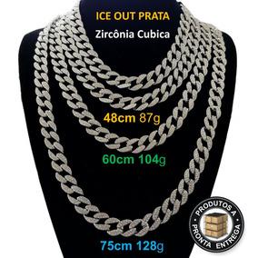 Colar Corrente 48cm Top Cravejada Prata Hip Hop Lxbr Bl16b