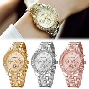 Reloj Economico Lote 6 Geneva Brillos Mujer Y Fechador 97e2293b1d70
