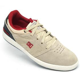 Tênis Dc Shoes Cole Signature Couro Bege E Vermelho