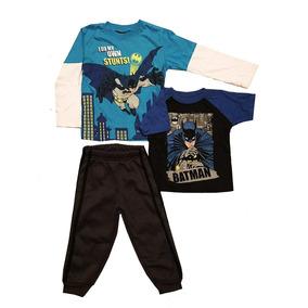 Pans Y 2 Camisetas Para Niños De Batman 3 Pzas Dc Comics