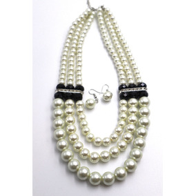 Collar De Perlas Con Aretes