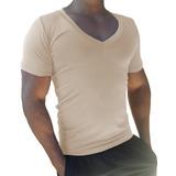 Camisa Masculina Decote Gola V Cavada Slim Viscolycra Mc