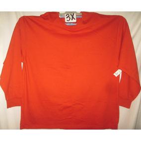 Camiseta Naranja Manga Larga Talla 3x Fruit Of The Loom