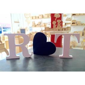 Kit 2 Letras E 1 Coração Decoração Casamentos Namorados Casa
