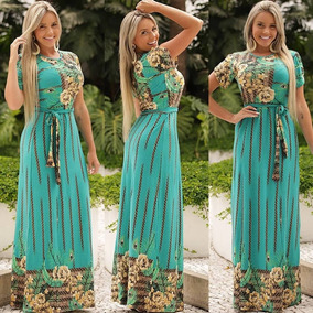 Vestido Longo Feminino Com Cordão Viscolycra