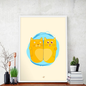 Pôster Gatos Decorativo - Tamanho A3