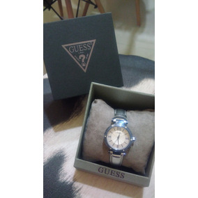 Relógio Feminino Guess Pulseira De Couro Prata/ Máquina Azul