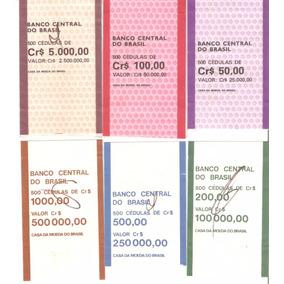 Lote De 6 Etiquetas De Cédulas Do Banco Do Brasil. Excelente
