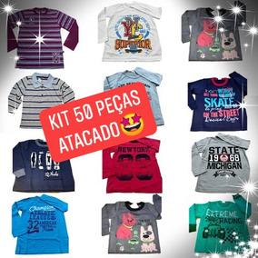 Kit 50 Camiseta Infantil 1 A 8 Longa Unisex Atacado Revenda