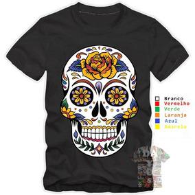 c6adc2b9e Camiseta Caveira Mexicana Colorida Masculino Feminino Flores