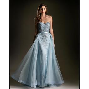 Vestido Largo Azul Cielo T-10 Marca: Andrea & Leo