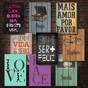Kit Com 10 Placas Decorativas Em Mdf - Frases Motivacionais