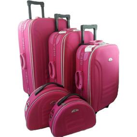 428fc916de994 Kit Conjunto Mala De Viagem Com Rodinha Com Franqueira Rosa