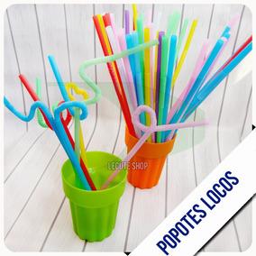 100 Popotes Locos Flexibles Plastico Fiesta Colores Formas