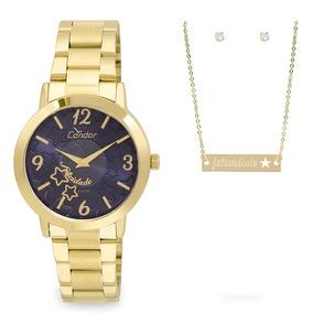 8288fe5bb47 Relogio Metal Dourado Fundo Azul Feminino - Relógios De Pulso no ...