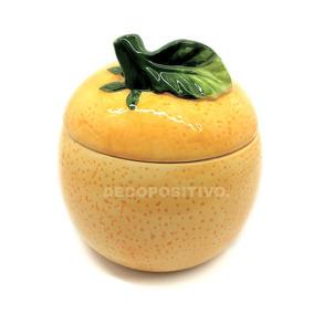 Naranja Elaborada En Ceramica Caramelera C Tapa Frasco Grand