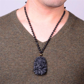 Collar Dije Obsidiana Dragón Chino Talismán Amuleto Rosario
