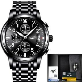 Relógio Masculino Luxo Lige 9825 Original Com Caixa Envio Já