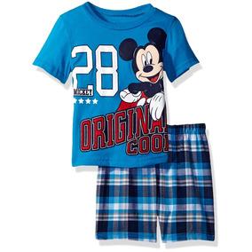 Camiseta Y Short Cuadrado Para Niños Mickey Mouse Disney