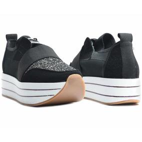 Zapato Tenis Casual Mujer Plataforma Negro   Erez