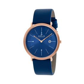 f8a8bed526d Relogio Masculino Rose Pulseira Couro Azul Ultra Fino Slim