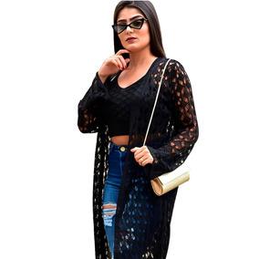 Blusa Cardigan Kimono Croche Longo + Crooped Conjunto Tricot