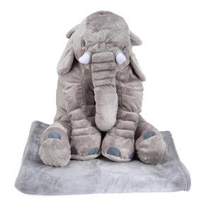 2 Felpa Almohada Muñeco Forma De Elefante C/manta, Gris