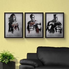 Kit 3 Quadros Batman Vs Superman 23x33 Moldura E Vidro Geek