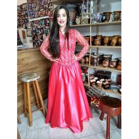 Vestido Bordado De Prenda Gaúcho Pronta Entrega