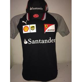 Kit Camiseta Careca+ Boné Santander Ferrari Preto Lançamento a0c957c88ad