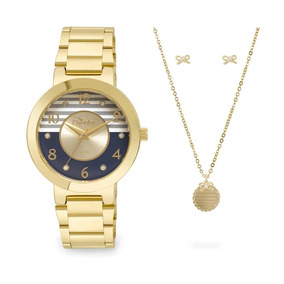 Kit Relógio Condor Feminino Bracelete Co2035ktf/k4a Dourado
