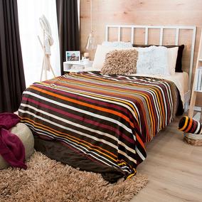 Cobertor Ligero Matrimonial Escocia Café Colores Vianney