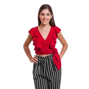 Blusa Top Dama Color Rojo Con Escarolas Y Ajuste En Cintura