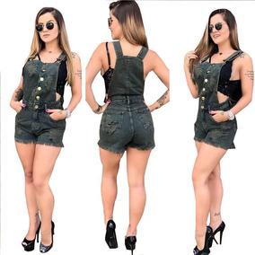 2018 Jardineira/macacao Curto Dest Jeans* Verde*