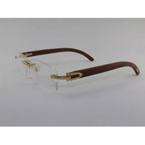 Armação Óculos Grau Cartier Madeira Rústica Clara Fio Nylon - Óculos ... 095b3a86d6