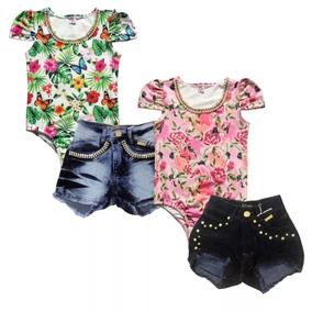 Kit 2 Body Bory Feminino Infantil Menina 2 Shorts