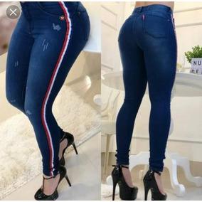 Roupas Feminina Moda Calça Jeans Cintura Alta Com Listras