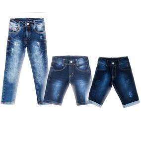Kit 1 Calca E 2 Bermudas Jeans Masculinas Bebe Tam 1 2 3