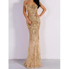 Vestido Longo De Festa Formatura Madrinha Casamento Dourado