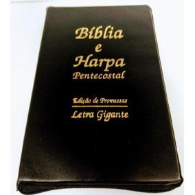Bíblia Sagrada Com Harpa Crista E Zíper Letra Gigante Preta