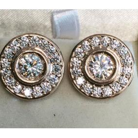 Aretes De Broquel Con Diamante Cultivado En Oro Rosa De 14k