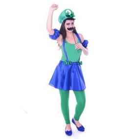 Fantasia Do Luigi Feminina - Brinquedos e Hobbies no Mercado Livre ... 233de0a2b4a