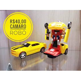 Carrinho Camaro Amarelo Vira Robô Luz Som Transformers
