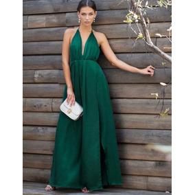 Vestido de noche verde olivo