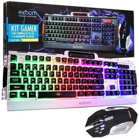 Kit Gamer Teclado E Mouse Com Led Bk-g3000 Exbom - Prata