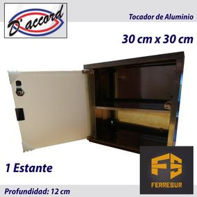 Tocador Peinador De Acero 30x30 Puerta De Vidrio Botiquin