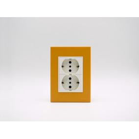 Placa Bauhaus Amarillo, Toma Schuko Doble, Linea Premium