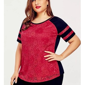 Blusa Feminina Vermelha E Preta Plus Size Gg Xg Xgg Renda