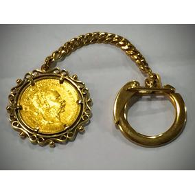 Chaveiro Moeda Ouro 23k900-16gramas, Comp. 10cm.