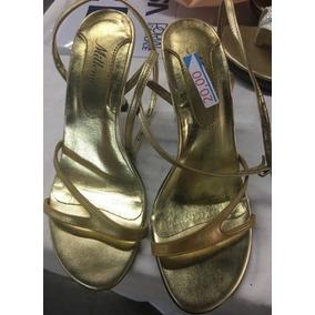 Sandalia Dourada Festa - Tam 36 - Usada